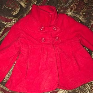 Children's red pea coat.